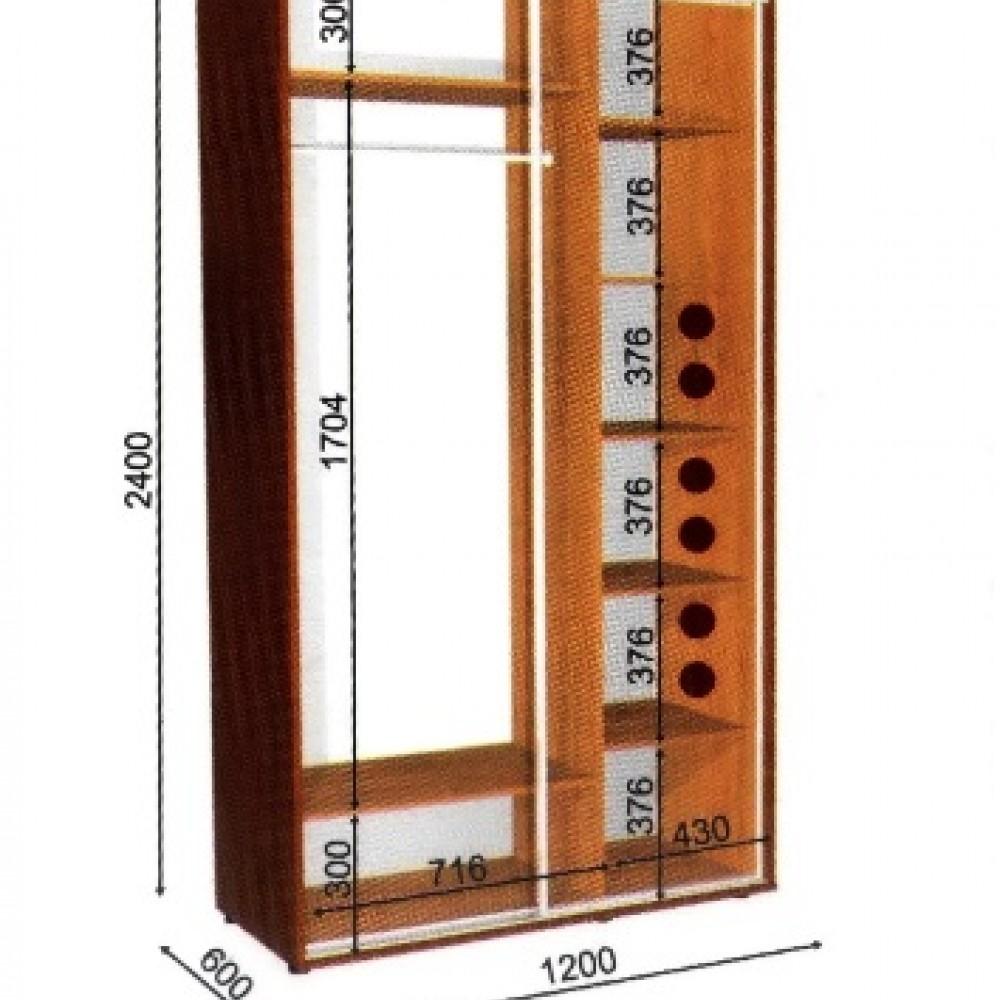 Шкаф-купе 1,2*0,45м 2Д