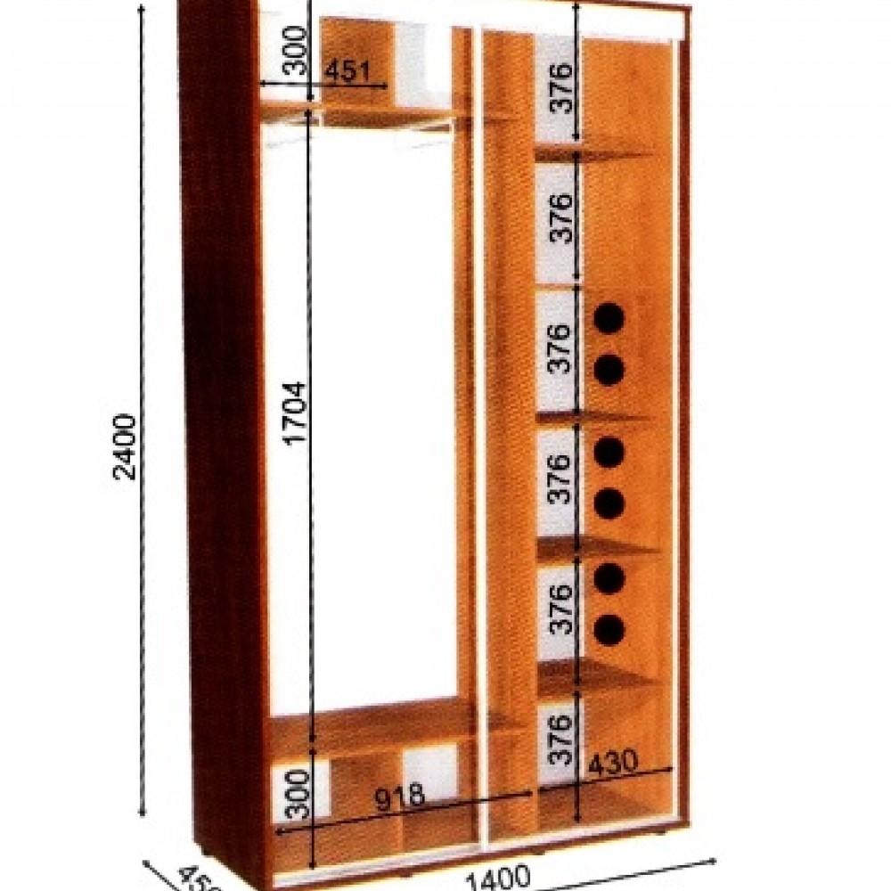 Шкаф-купе 1,4*0,45м 2Двери Влаби