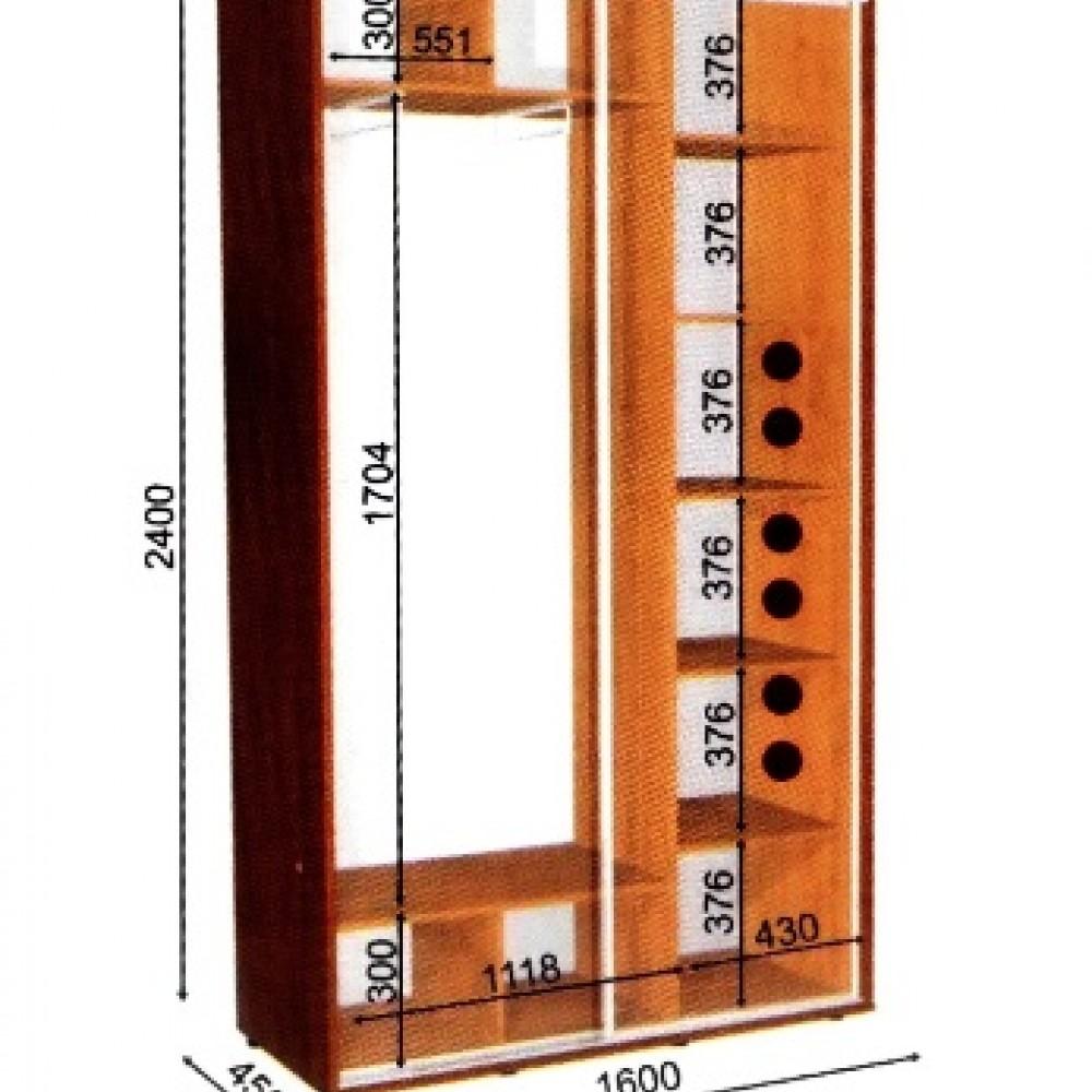 Шкаф-купе 1,6*0,45м 2Двери Влаби