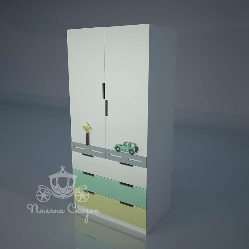 Шкаф 2-створчатый с ящиками Грузовичок