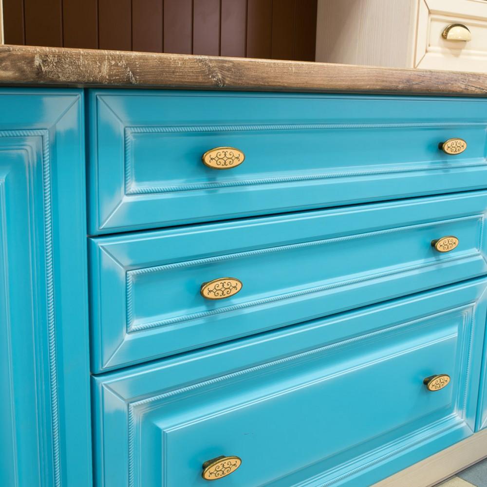 Кухня крашеная прованс голубая