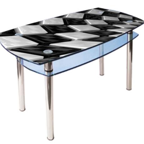 Стеклянный кухонный стол КС2 1100*700